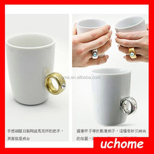 Uchome 2015 Fashion Romantic Ceramic Water Cup/Birthday Valentines Day Gifts/Creative Ring Mug Cup
