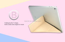 Good PU leather 3 & Y folding view tablet PC case for iPad Air 2
