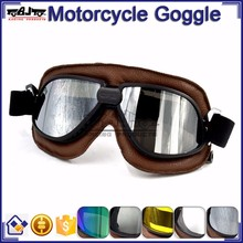 BJ-GT-009 Soft Padded Silver Lens Leather Goggles Motorcycle