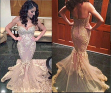 2015 Gorgeous Mermaid Sheer Wedding Dresses Champagne Embroidery Long Evening Gowns GL