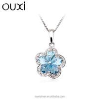 OUXI ocean blue crystal silver flower necklace pendant Y30142