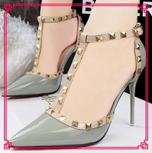 Korean fashion sexy nightclubs shallow mouth pointed hollow rivet belt women high heel shoes