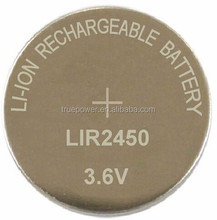 Rechargeable 3.6V Button-cell Li-ion Battery LIR2450 for Watches/Hearing Aid Clocks/Electric Toys