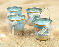 small metal tin bucket for candy/candle holder