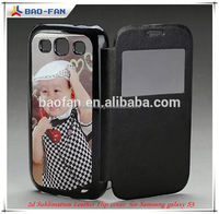 2D Sublimation Leather Phone Case for Samsung S3 with Metal Sheet heat transfer 2D leather with window mobile phone cover