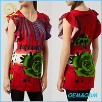 Latest Design Women Wear Fancy Red Rose Print Frill Sleeves Casual Tunic Top