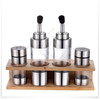 fashion stainless steel glass wooden stand with salt pepper shaker and oil vinegar cruet set