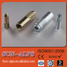 high quality galvanized Knurling drop in anchor with plug, bullet anchor bolt