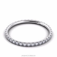 1.6mm Solid 9K 14K 18K White Gold Natural Diamond Pave Ring Wedding Ring Engagement Plain Band For Couples Mens Womens