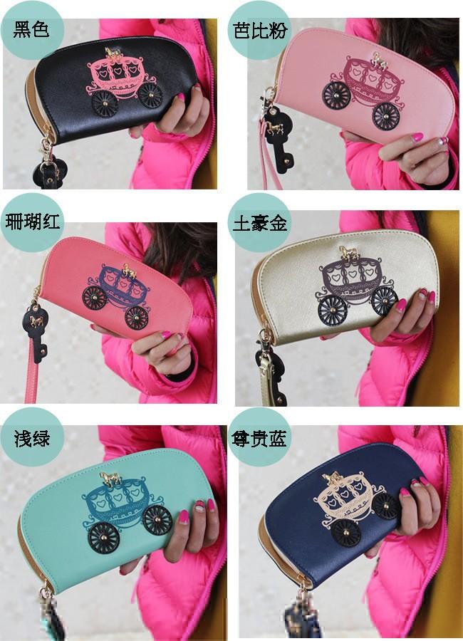 новые моды милый автомобиль ключевых лошади молния женщин Бумажник пу Бумажники кожаные длинные женские сцепления изменения Кошелек карт