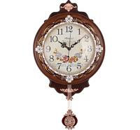 Wood glass single clock, wall clock watch European rural personality fashion creative living room ZX