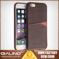 QIALINO Excellent Quality Hand Maded Leather Led Case For Iphone 6S
