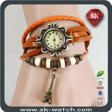 wholesale original high quality women braided genuine Cow leather vintage watch, Bracelet Wristwatches butterfly or Eiffel Tower