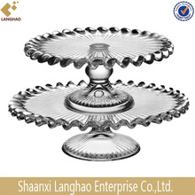 pressed round clear glass cake stand