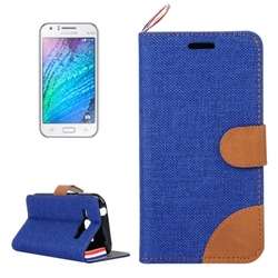 In stock!!! denim texture leather flip case for Samsung Galaxy J1 with card slots