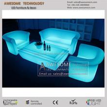 modern sofa furniture / night club plastic sofa set/ glow led sofa