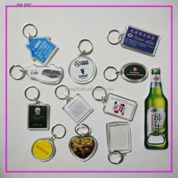 Plastic key chain with logo inserted