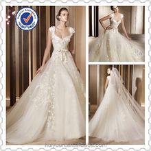 Ivory A- line Cap Sleeve Bridal Dress Wedding Party Dress