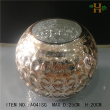handblown silver or gold color glass vases in round ball shape,mercury glass vase