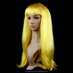 2015 Hot sale cheap None Lace Wig 100% Polyester Hot Pink Long Straight wig
