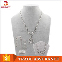 hot sale fashion silver Plated Indian Bridal silver ring & necklace & earring & bracelet Jewelry Sets for women