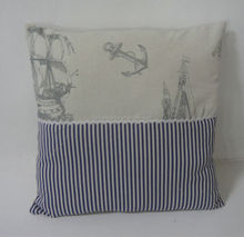 2015 style Hot Sale Wholesale custom Decorative Throw pillow Linen and Cotton square shape with an ocean design