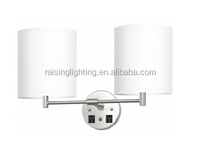 Double Wall Lamp with Brushed Nickel Finish and Linen Round Shades