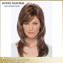 brazilian female 100% layer human hair lace front wig with bangs highlight color fashion cosplay high temperature fiber wigs