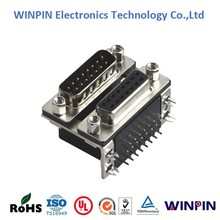 D-SUB 15 Pin male female Right Angle connector Dual Port