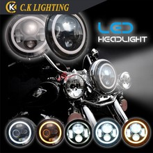 "7"" 7 inch motorcycle headlight with 7"" harlo ring for harley davidson"