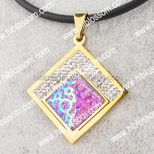 Cuadrado colgante de piedra rosa de imitación murano joyas de piedra