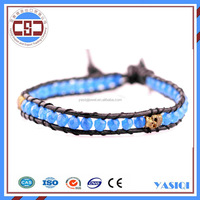 Faceted Natural Stone Cross Leather Beaded Wrap North Skull China Manufacturer bracelet