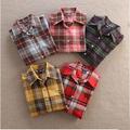 2015 bordado dama cuadros camisa casual, blusas de diseño para las mujeres