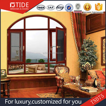 anti-theft and insects screen +tempered glass combined windows,aluminum clad wood framed