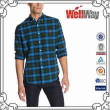 Wellway clothes for men cheap flannel fabric cotton dress shirts for men designer