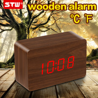 mini rechargeable running funny wooden cheap led wholesale alarm clock radio