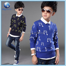 BigWorld Original designs 100 %cotton sweater kids wholesale computer knitted child sweater music patterns sweater for kids