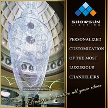 Extra large curtain shape crystal beaded pendant lighting for hotel lobby