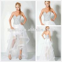 Hot Sexy Sweetheart Neckline Beaded Bodice High Low Hem Prom Dresses with Lack Up Back