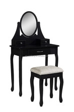 Wooden Black Dressing Table & Table Set European Style