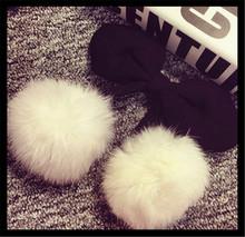 White Color Two Fox Fur Balls Bridal Headwear Sexy Girl 2015