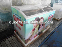 Curved glass door refrigerator freezer