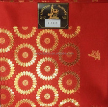 Red and gold high quality african swiss plain nigeria gele jubilee headtie