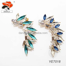 New Arrival rhinestone alloy leaves ear clip earring fashion silver ear cuff earrings