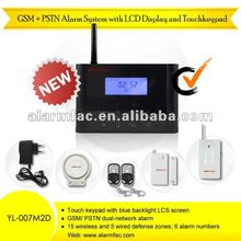 "2012 hot!""!NEW GSM+PSTN home alarm system with LCD display and touch keypad with personal alarm bracelets"