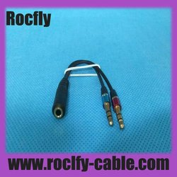 Audio cable Y adapter 2 rca male to 3.5mm female fack