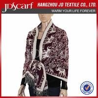 Fashion Christmas Ladies printed knitted shawl/warm shawl scarf/winter shawl scarf