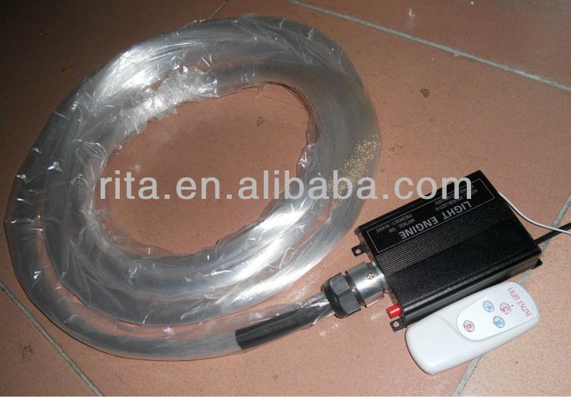 Ps kit de fibra óptica ; 380 fibras x 0.75 mm x 5 metro largo con centelleo blanco 16 W LED de fibra óptica de motor