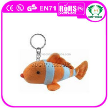 HI CE Cute style Lower cost super soft plush fish keychain toy