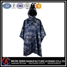 Camouflage military rain coat poncho PVC coating,army rain coat poncho